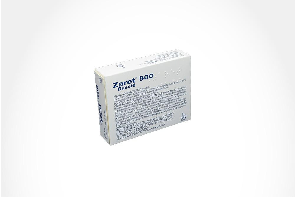 Zaret 500 mg Caja Con 3 Tabletas Recubiertas
