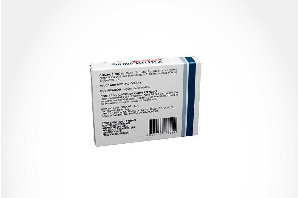 Zitrim 500 mg Caja Con 3 Tabletas Recubiertas