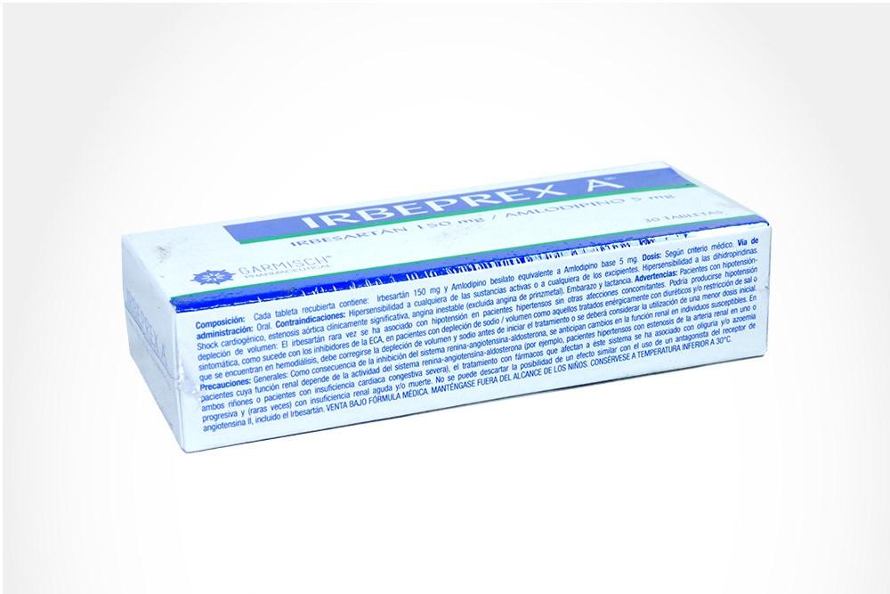 Irbeprex A 150 mg / 5 mg Caja Con 30 Tabletas
