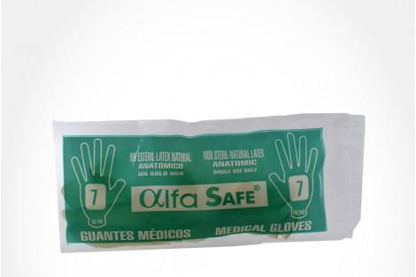 Guantes Médicos Alfa Safe Bolsa Con 1 Unidad - Talla 7