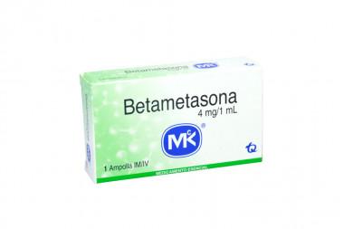 Betametasona Solución Inyectable 4 mg / 1 mL Caja Con 1 Ampolla