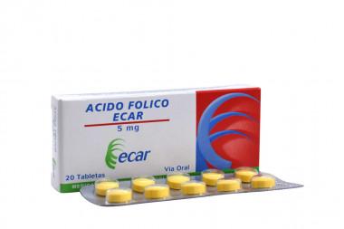 Ácido Fólico 5 mg Caja x 20 Tabletas - Ecar