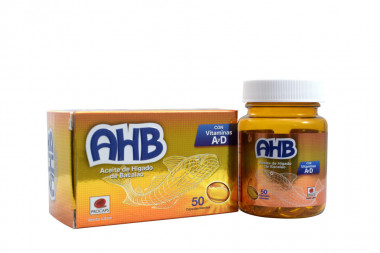 AHB Aceite De Higado De Bacalao Caja Con Frasco Con 50 Cápsulas Blandas