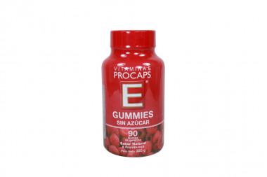 Vitamina E Gummies Sin Azucar Frasco Con 90 Gomas de Gelatina - Sabor a Frambuesa