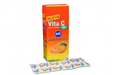 Vita C + Zinc 500 mg Caja Con 100 Tabletas Masticables - Sabor Mandarina