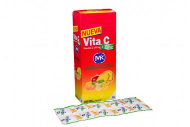Vita C + Zinc 500 mg Caja Con 100 Tabletas Masticables - Sabor Tutti Frutti