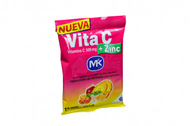 Vita C + 500 mg Sobre x 12 Tabletas Sabor A Tutti Frutti