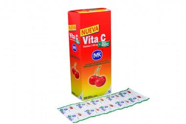 Vita C + Zinc 500 mg Caja Con 100 Tabletas Masticables - Sabor Cereza