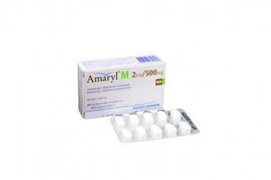 Amaryl M 2 / 500 mg Caja Con 30 Comprimidos Recubiertos