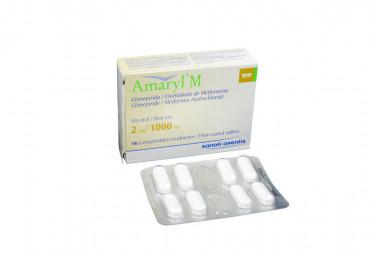 Amaryl M 2 / 1000 mg Caja Con 16 Comprimidos Recubiertos