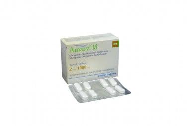 Amaryl M 2 / 1000 mg Caja Con 32 Comprimidos Recubiertos