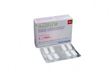 Amaryl M 4 / 1000 mg Caja Con 16 Comprimidos Recubiertos