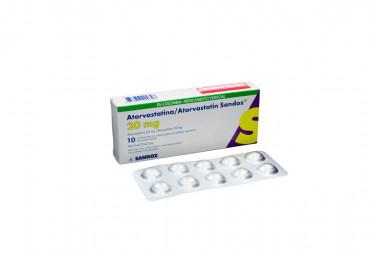 Atorvastatina 20 mg Caja x 10 Comprimidos Con Película - Sandoz