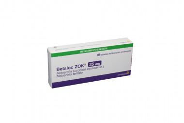 Betaloc Zok 25 mg Caja Con 30 Tabletas De Liberación Prolongada