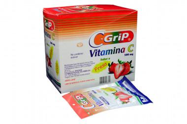 C Grip 500 mg Caja Con 144 Tabletas Masticables - Sabor Fresa