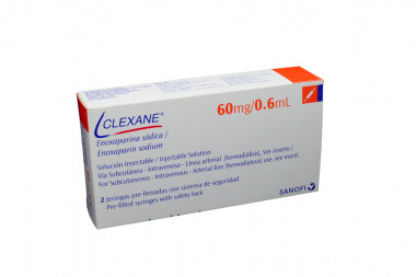 Clexane Solución Inyectable 60 mg / 0.6 mL Caja Con 2 Jeringas Pre-Llenadas