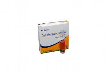 Diclofenaco Sódico Solución Inyectable 75 mg / 3 mL Caja Con 5 Ampollas