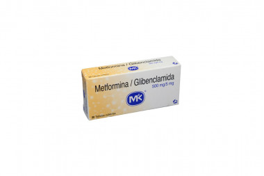 Metformina / Glibenclamida 500 / 5 mg Caja Con 30 Tabletas Cubiertas
