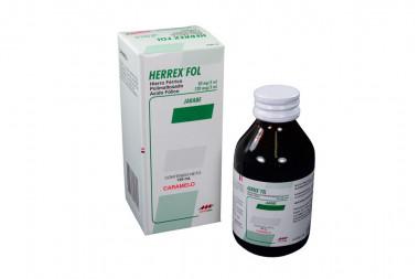 Herrex FOL Jarabe 50 mg / 120 mcg Caja Con Frasco 120 mL - Caramelo