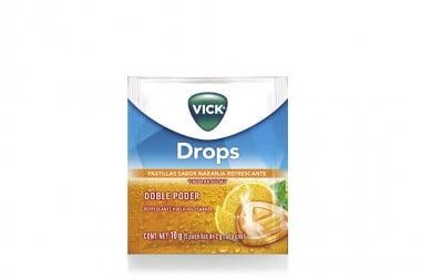 Vick Drops Caja Con 24 Sobres De 5 Pastillas - Sabor A Naranja