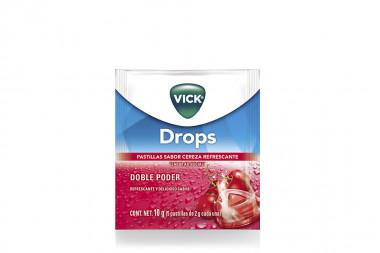 Vick Drops Caja Con 24 Sobres Con 5 Pastillas C/U - Sabor A Cereza
