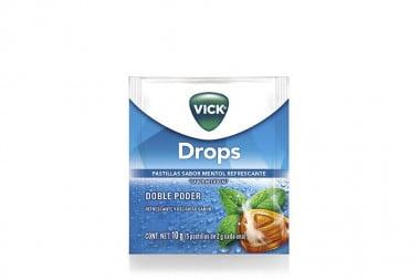 Vick Drops Caja Con 24 Sobres De 5 Pastillas c/u - Sabor A Mentol
