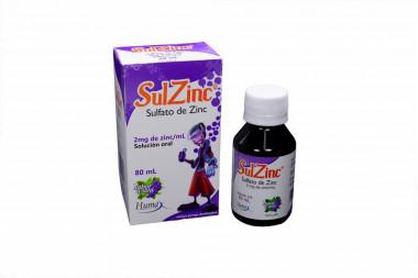 SulZinc Solución Oral 2 mg Caja Con Frasco Con 80 mL - Sabor A Uva