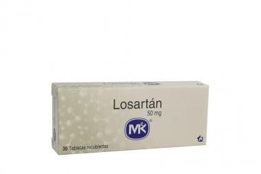 Losartán Mk 50 mg Caja Con 30 Tabletas Recubiertas