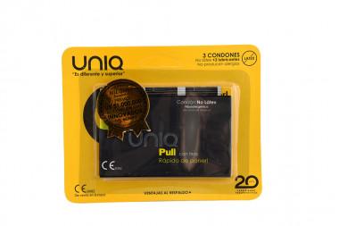 Condones Uniq Pull Empaque Con 3 Unidades + 3 Lubricantes