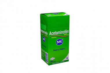 Acetaminofén Adultos 500 mg Caja Con 100 Tabletas