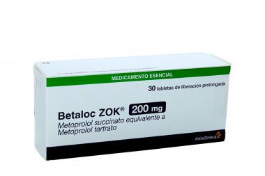 Betaloc Zok 200 mg Caja Con 30 Tabletas De Liberación Porlongada
