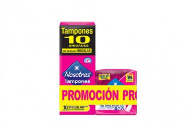 Tampones Súper Sin Aplicador Nosotras Caja Con 10 Oferta Lleve 15 Protectores