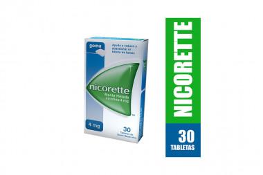 Nicorette 4 mg Caja Con 30 Tabletas De Goma Masticables - Sabor Menta Helada
