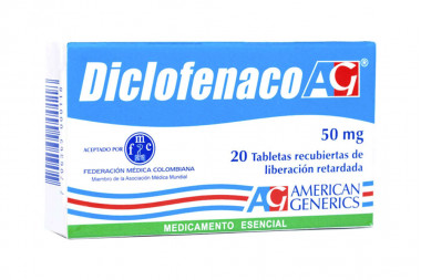 Diclofenaco 50 mg Caja Con 20 Tabletas Recubiertas De Liberación Retardada