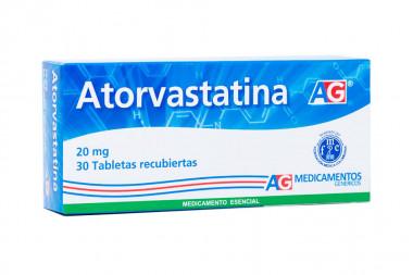 Atorvastatina 20 mg Caja Con 30 Tabletas Recubiertas