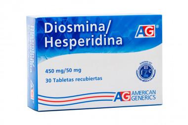 Diosmina / Hesperidina 450 / 50 mg Caja Con 30 Tabletas Recubiertas