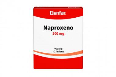 Naproxeno 500 mg Caja Con 10 Tabletas - Genfar