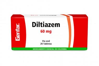 Diltiazem 60 mg Caja x 20 Tabletas – Genfar