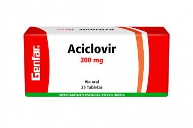 Aciclovir 200 mg Caja Con 25 Tabletas