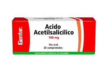 Ácido Acetilsalicílico 100 mg Caja Con 30 Comprimidos