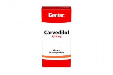 Carvedilol 6,25 mg Caja Con 30 Comprimidos