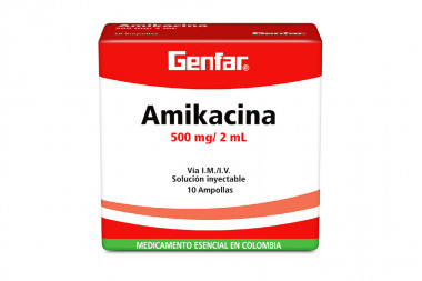 Amikacina 500 mg / 2 mL Caja Con 10 Ampollas