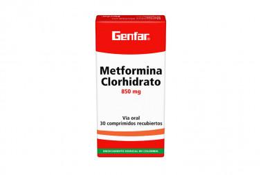 Metformina Winthrop 850 mg Caja Con 30 Tabletas