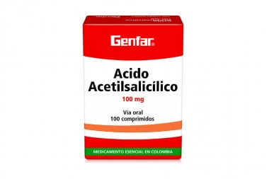 Ácido acetilsalicílico 100 mg Caja Con 100 Comprimidos