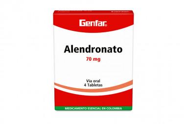 Alendronato Genfar 70 mg Caja Con 4 Tabletas