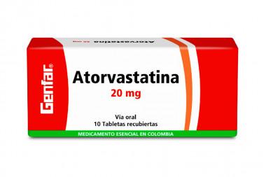 Atorvastatina 20 mg Caja Con 10 Tabletas Recubiertas