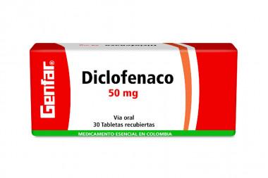 Diclofenaco 50 mg Caja Con 30 Tabletas Recubiertas - Genfar