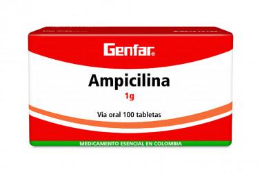 Ampicilina 1 g Caja Con 100 Tabletas
