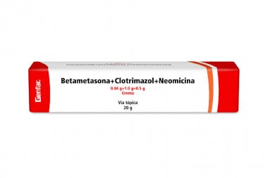 Crema Betametasona + Clotrimazol + Neomicina En Crema 0.04 / 1.0 / 0.5 g Caja Con Tubo Con 20 g