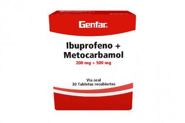 Ibuprofeno + Metocarbamol 200 / 500 mg Caja Con 30 Tabletas Recubiertas